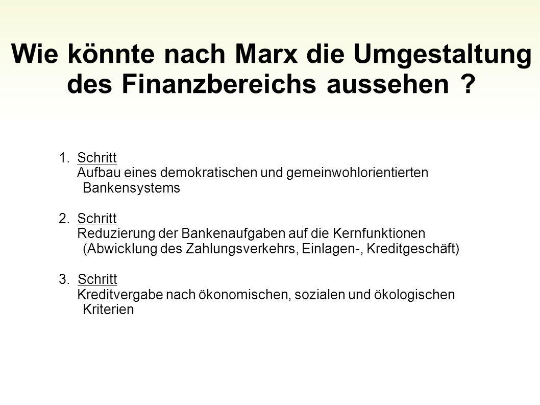 Wie könnte nach Marx die Umgestaltung des Finanzbereichs aussehen