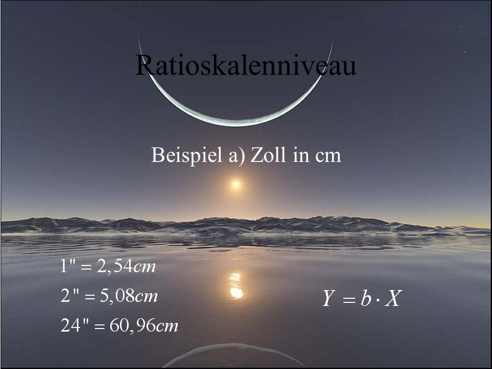 Ratioskalenniveau Beispiel a) Zoll in cm