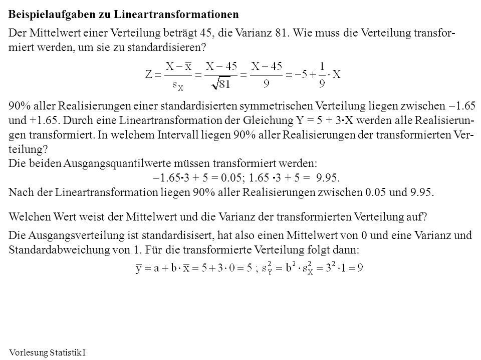 Beispielaufgaben zu Lineartransformationen