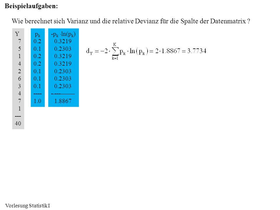 Beispielaufgaben: Wie berechnet sich Varianz und die relative Devianz für die Spalte der Datenmatrix