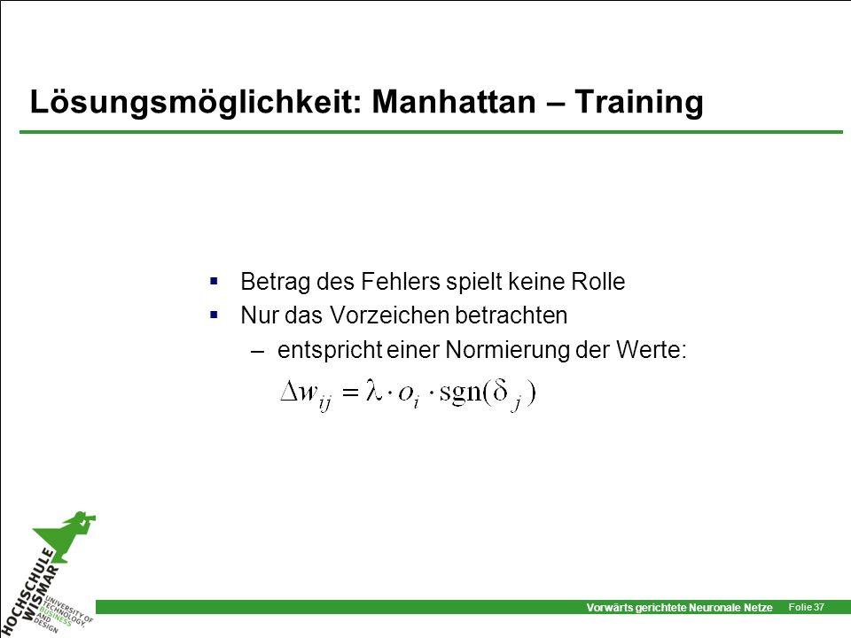 Lösungsmöglichkeit: Manhattan – Training