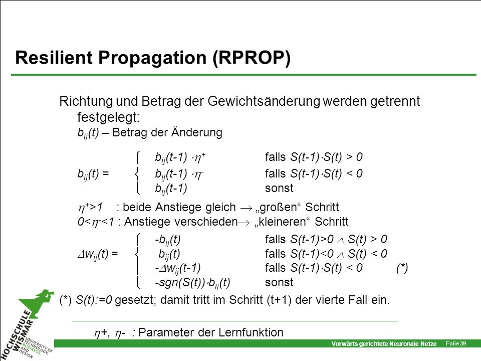 Resilient Propagation (RPROP)