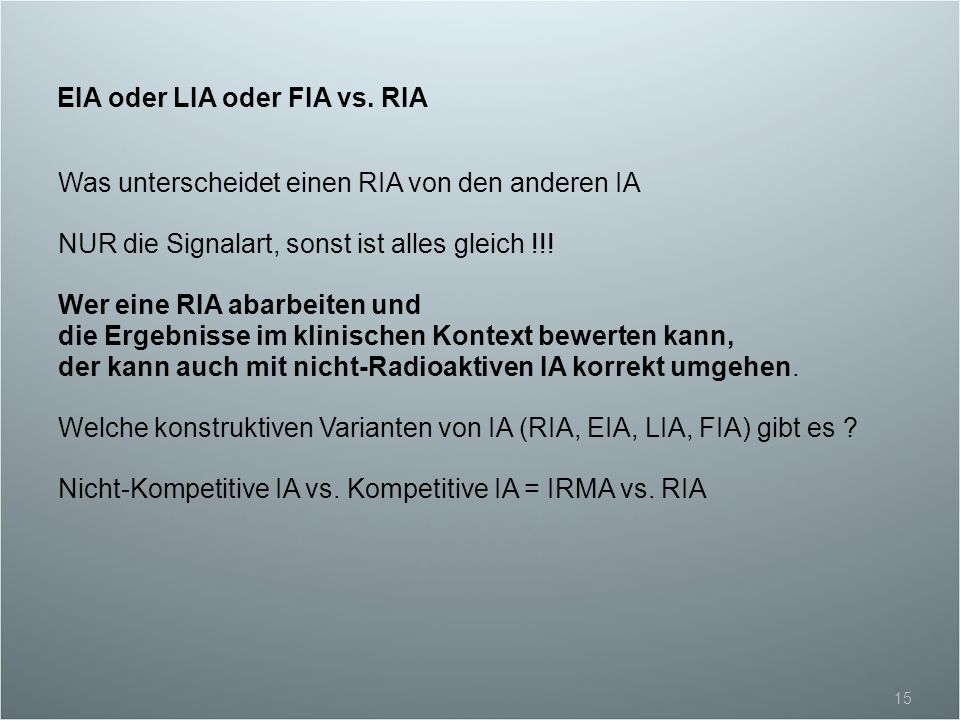 EIA oder LIA oder FIA vs. RIA