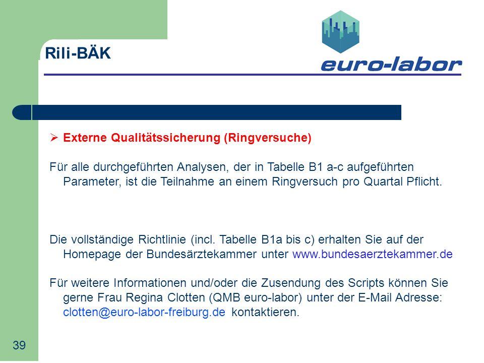 Rili-BÄK Externe Qualitätssicherung (Ringversuche)