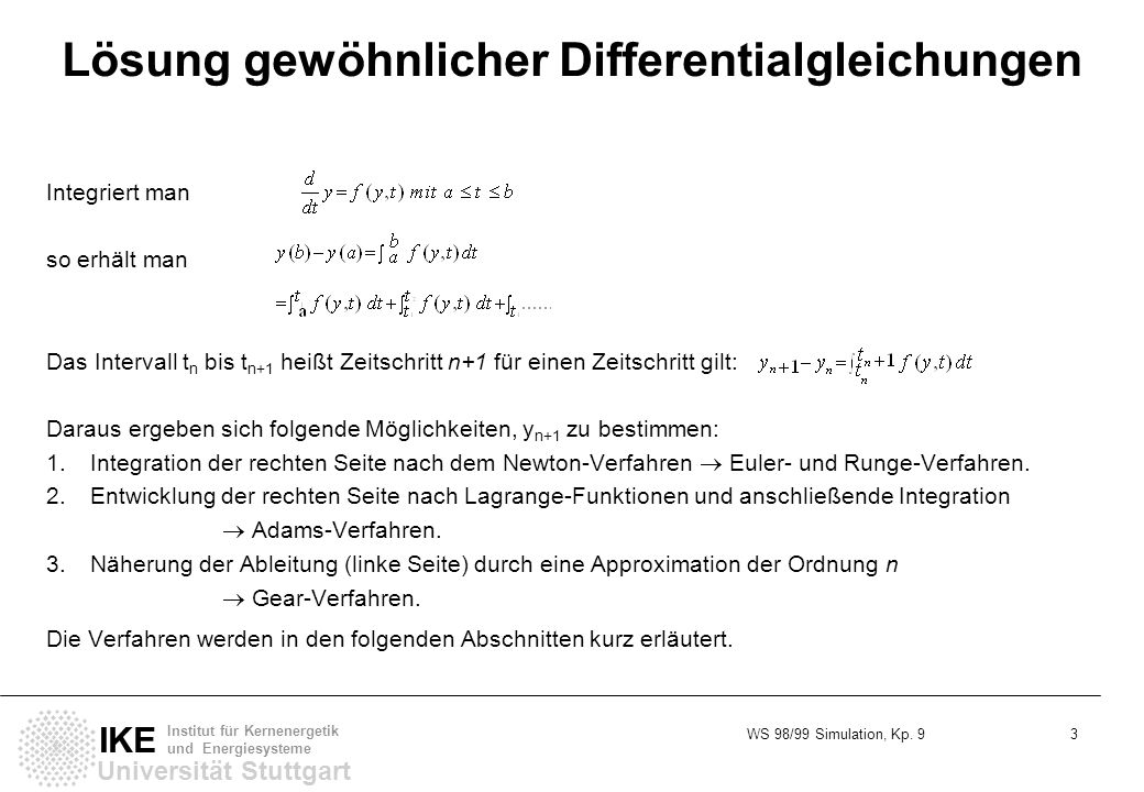 Lösung gewöhnlicher Differentialgleichungen