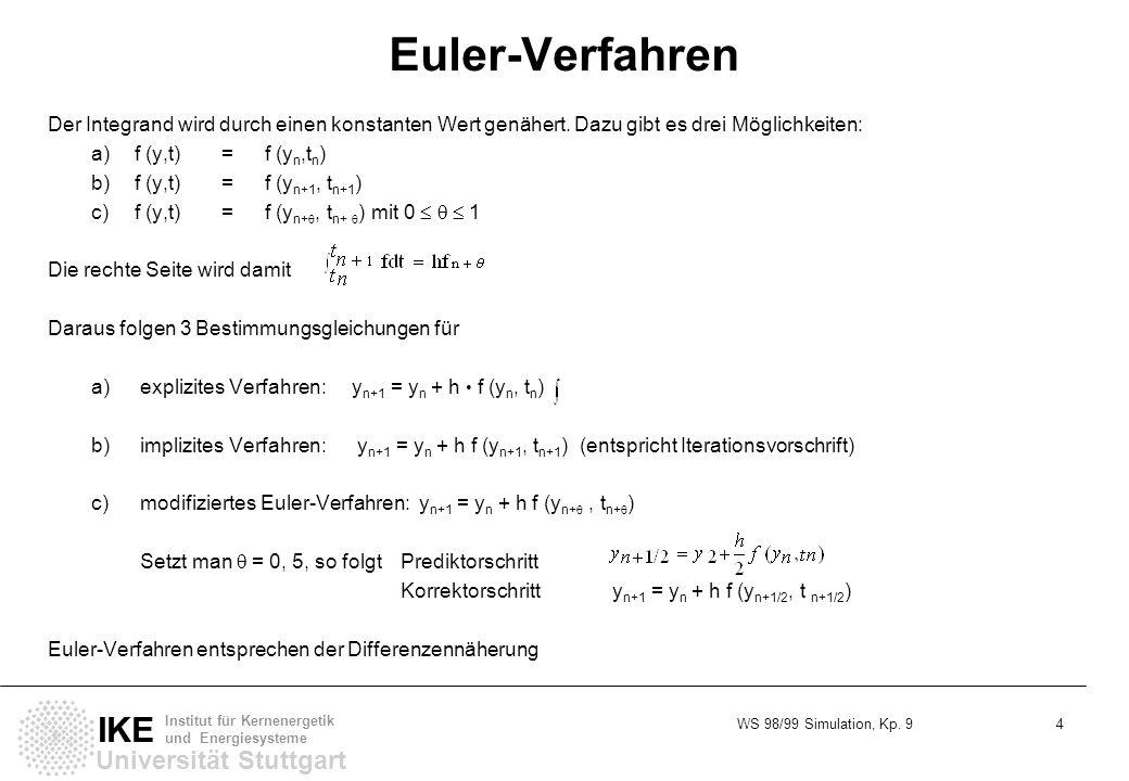 Euler-Verfahren Der Integrand wird durch einen konstanten Wert genähert. Dazu gibt es drei Möglichkeiten: