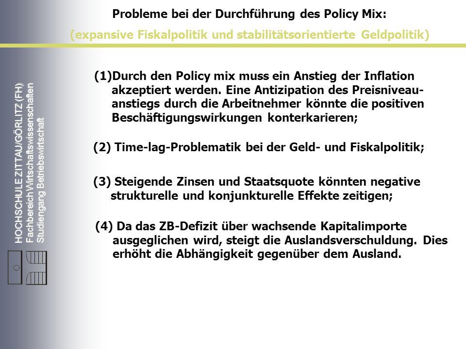 Probleme bei der Durchführung des Policy Mix: