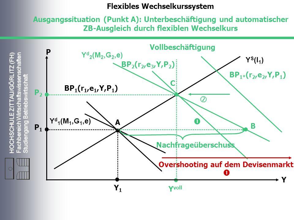 Flexibles Wechselkurssystem Overshooting auf dem Devisenmarkt