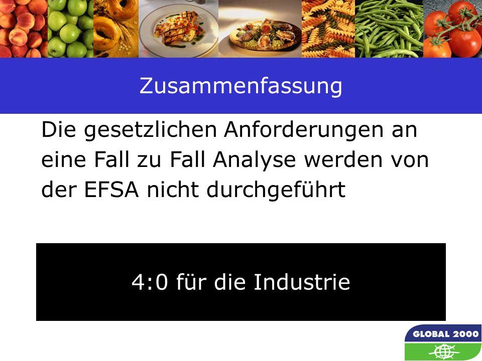 Zusammenfassung Die gesetzlichen Anforderungen an eine Fall zu Fall Analyse werden von der EFSA nicht durchgeführt.