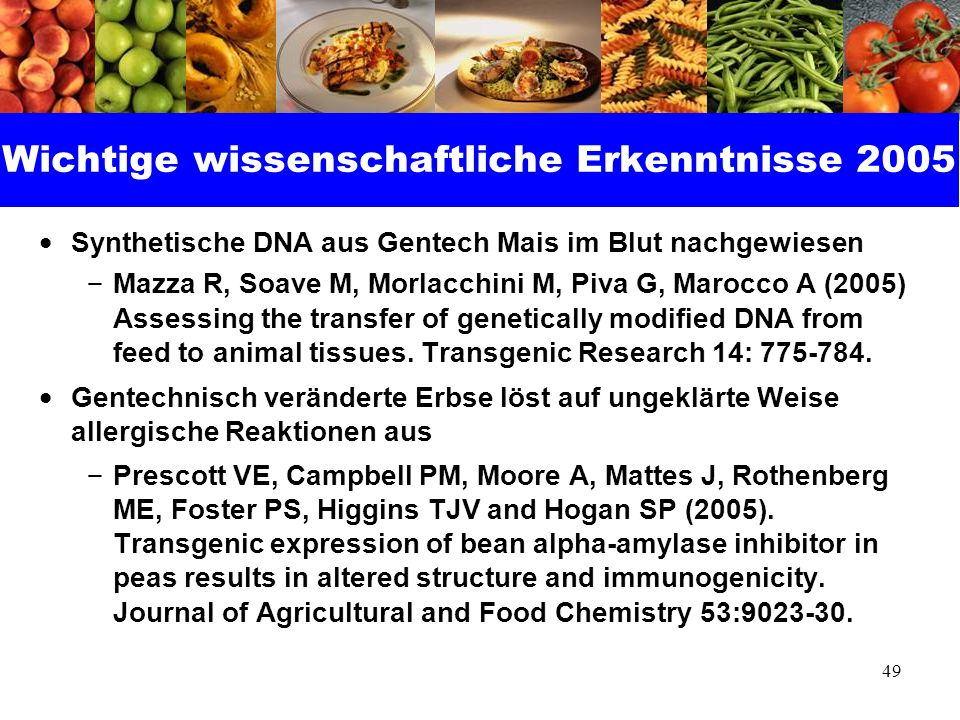 Wichtige wissenschaftliche Erkenntnisse 2005