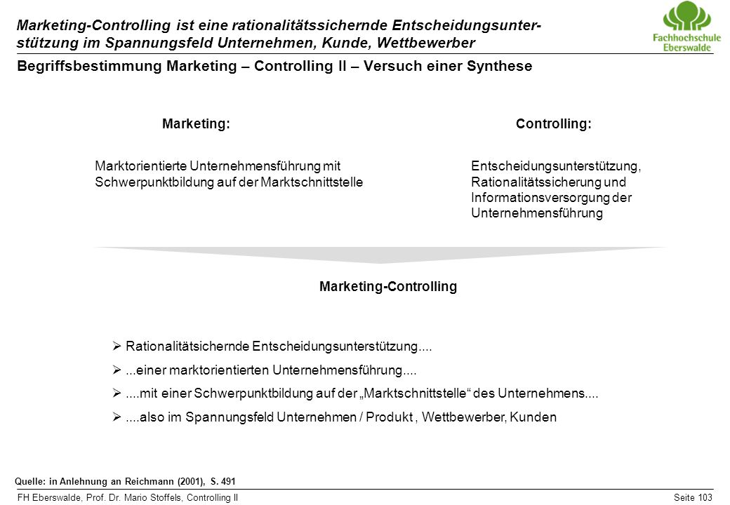 Begriffsbestimmung Marketing – Controlling II – Versuch einer Synthese
