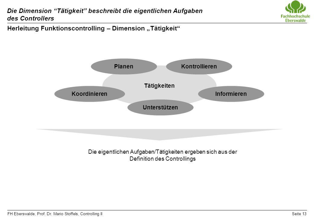 """Herleitung Funktionscontrolling – Dimension """"Tätigkeit"""