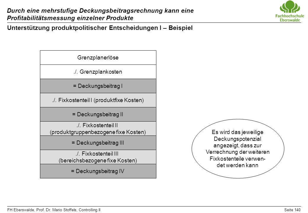 Unterstützung produktpolitischer Entscheidungen I – Beispiel