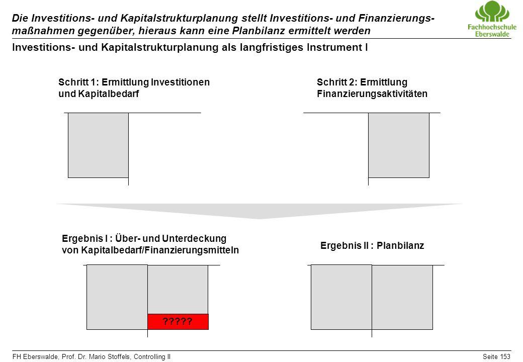 Die Investitions- und Kapitalstrukturplanung stellt Investitions- und Finanzierungs-maßnahmen gegenüber, hieraus kann eine Planbilanz ermittelt werden