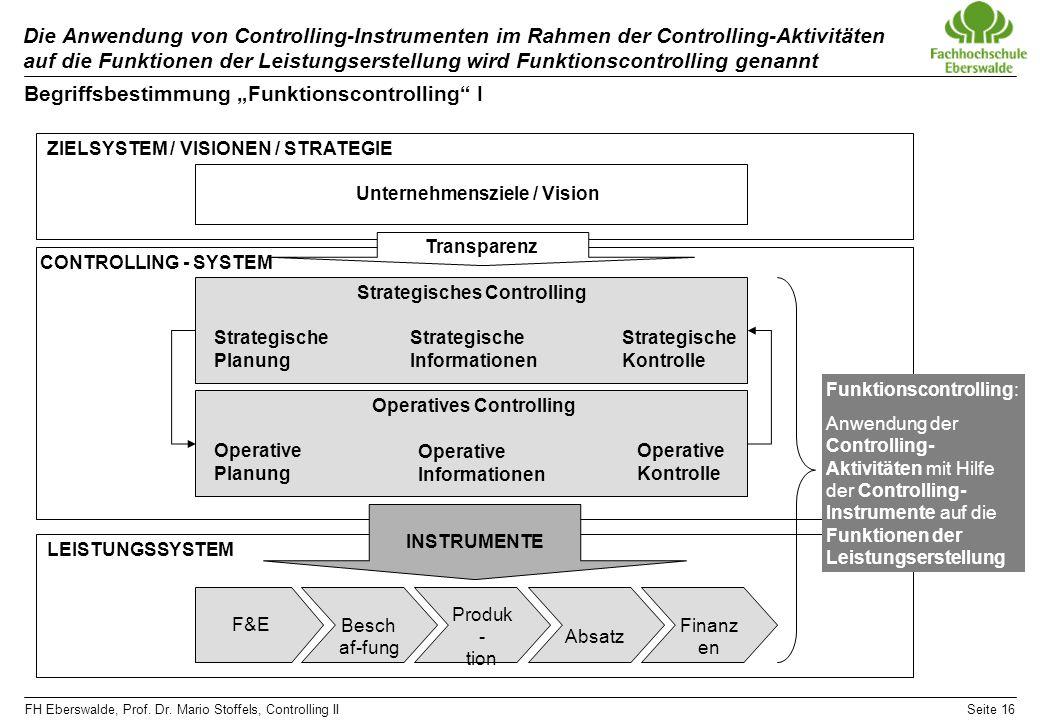 "Begriffsbestimmung ""Funktionscontrolling I"