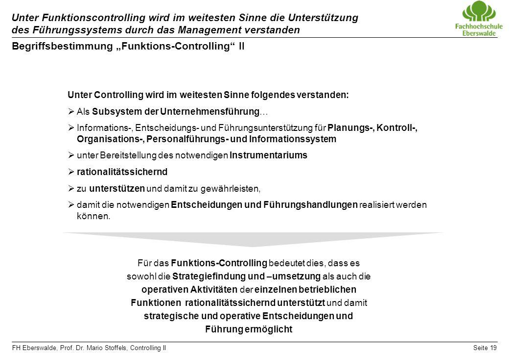 "Begriffsbestimmung ""Funktions-Controlling II"