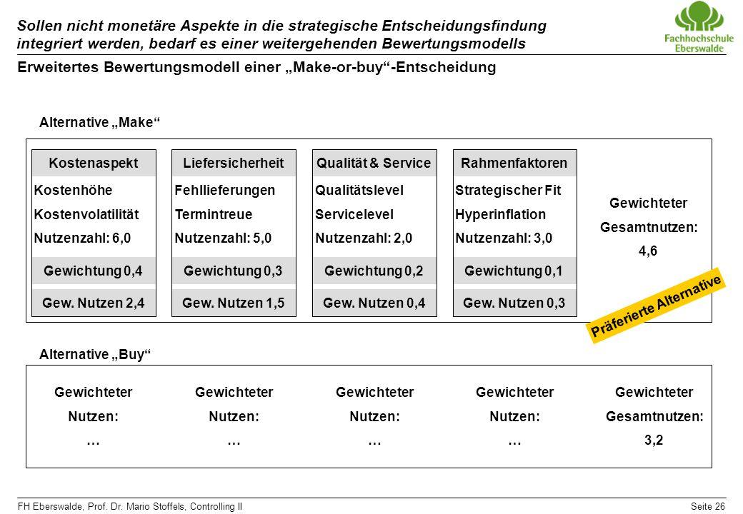 """Erweitertes Bewertungsmodell einer """"Make-or-buy -Entscheidung"""
