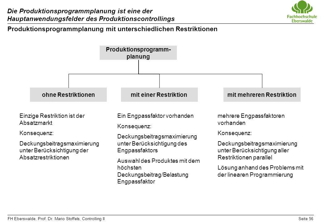 Produktionsprogrammplanung mit unterschiedlichen Restriktionen