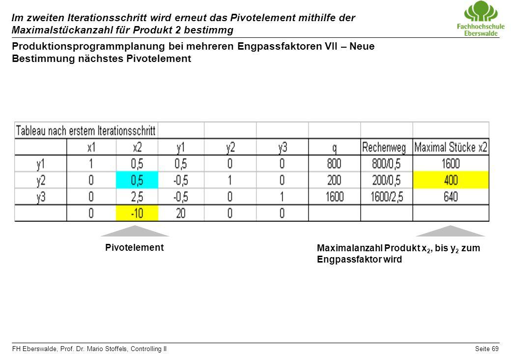 Im zweiten Iterationsschritt wird erneut das Pivotelement mithilfe der Maximalstückanzahl für Produkt 2 bestimmg