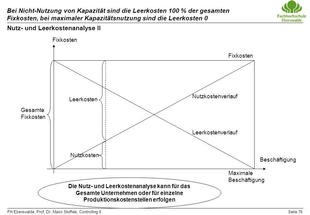 Nutz- und Leerkostenanalyse II