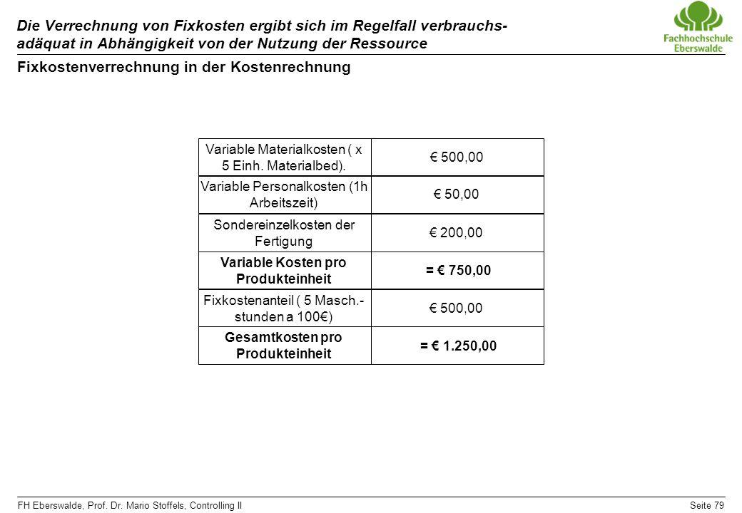 Fixkostenverrechnung in der Kostenrechnung