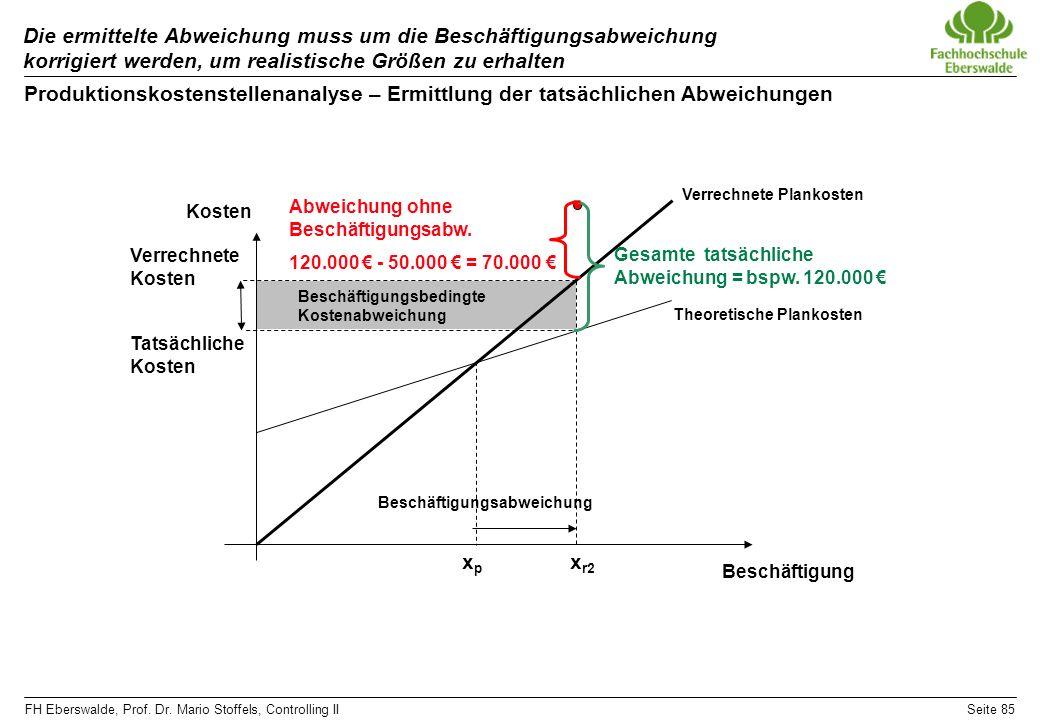 Die ermittelte Abweichung muss um die Beschäftigungsabweichung korrigiert werden, um realistische Größen zu erhalten