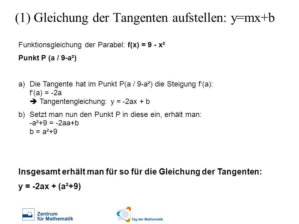 (1) Gleichung der Tangenten aufstellen: y=mx+b