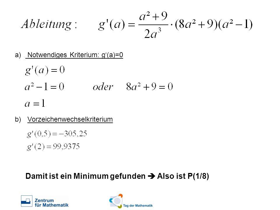 Notwendiges Kriterium: g'(a)=0