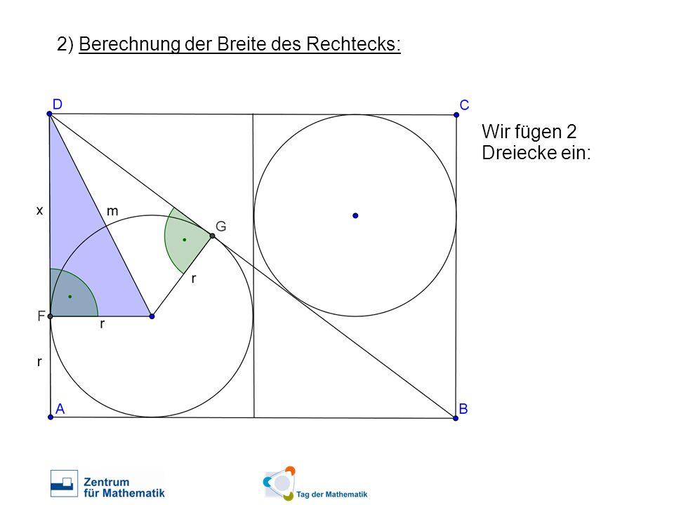 2) Berechnung der Breite des Rechtecks: