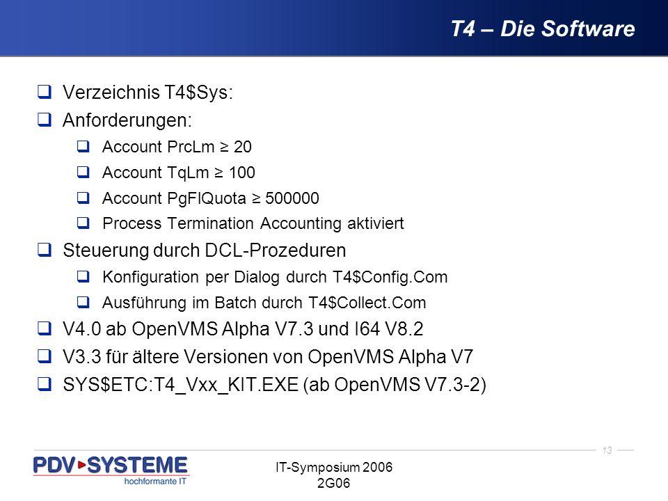 T4 – Die Software Verzeichnis T4$Sys: Anforderungen: