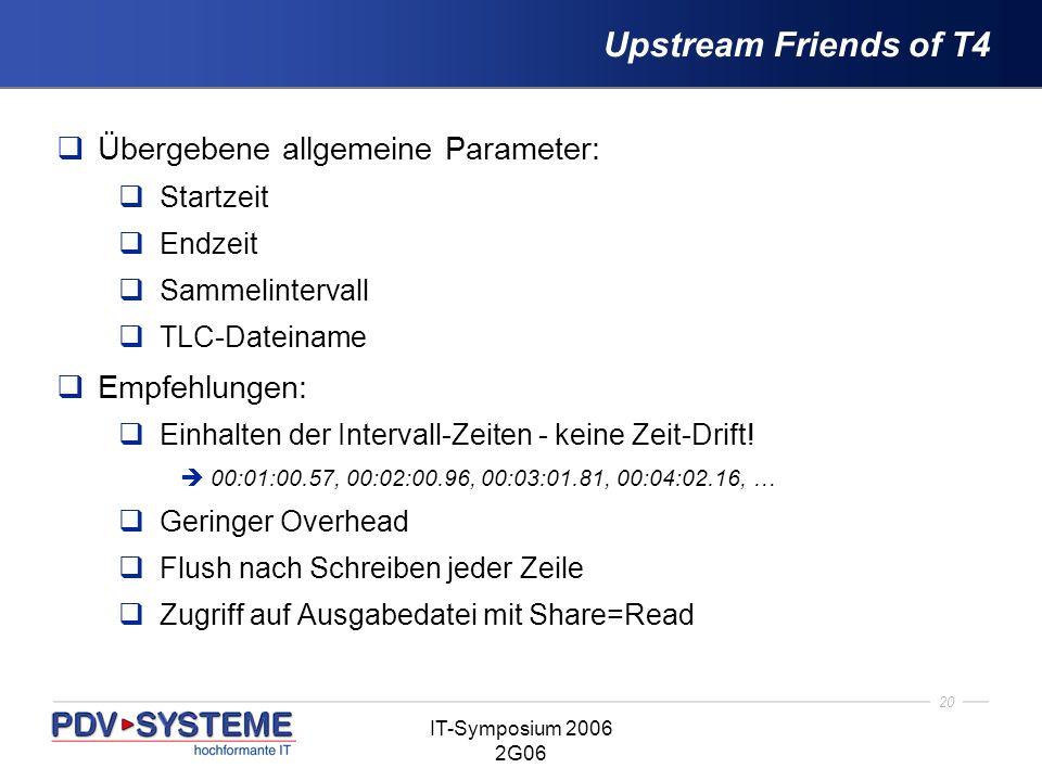 Upstream Friends of T4 Übergebene allgemeine Parameter: Empfehlungen: