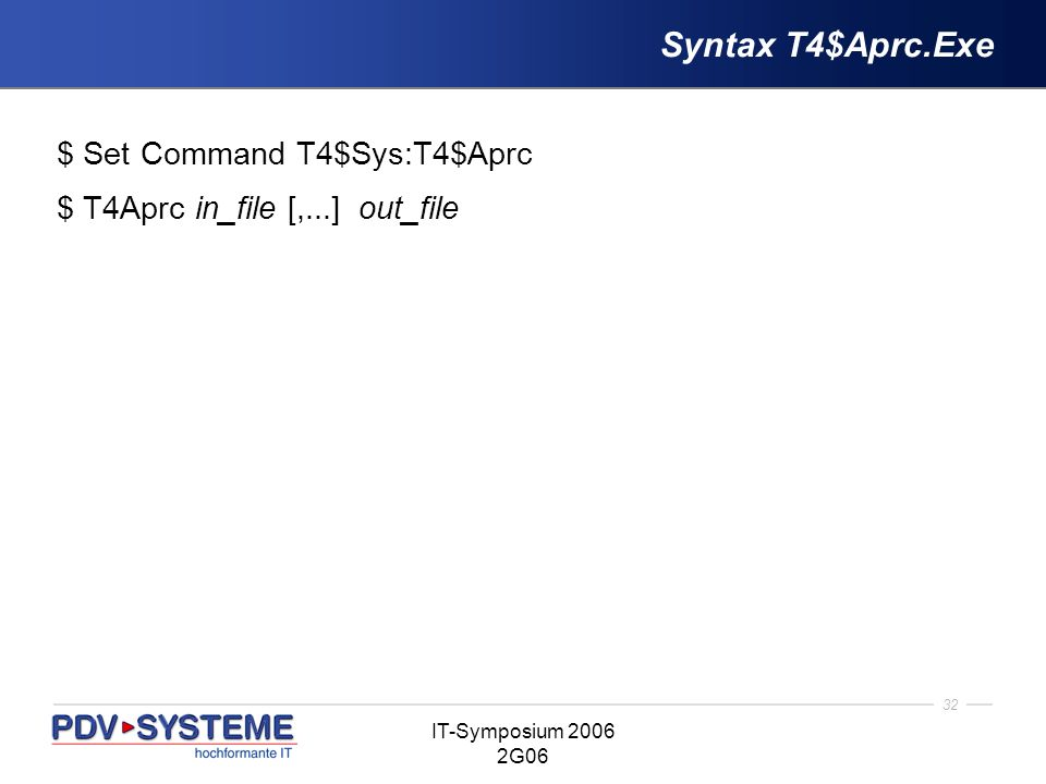 Syntax T4$Aprc.Exe $ Set Command T4$Sys:T4$Aprc