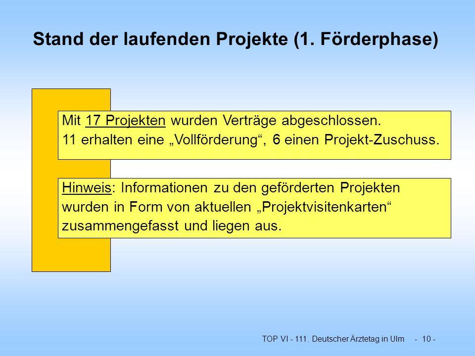 Stand der laufenden Projekte (1. Förderphase)