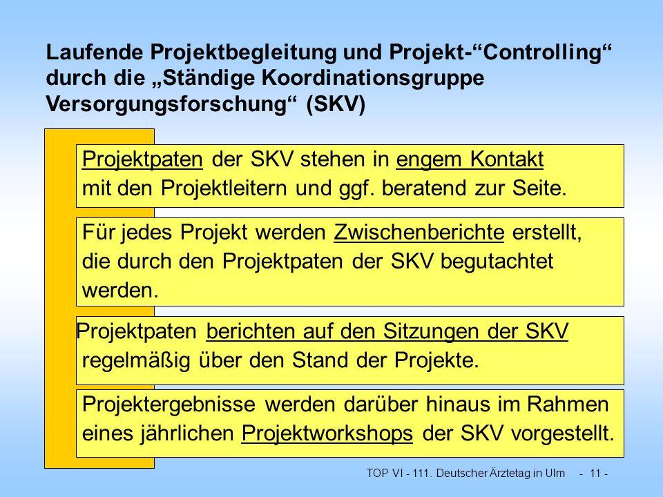 """Laufende Projektbegleitung und Projekt- Controlling durch die """"Ständige Koordinationsgruppe Versorgungsforschung (SKV)"""