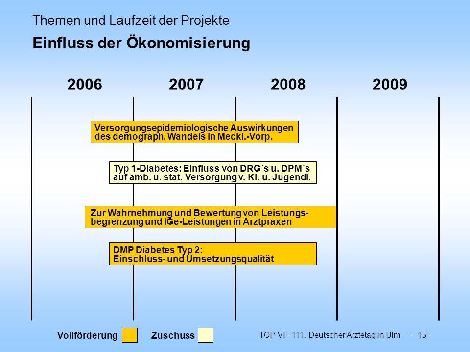 Themen und Laufzeit der Projekte Einfluss der Ökonomisierung
