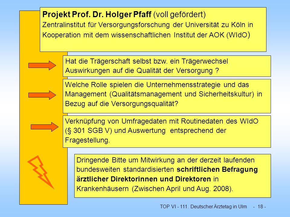 Projekt Prof. Dr. Holger Pfaff (voll gefördert) Zentralinstitut für Versorgungsforschung der Universität zu Köln in Kooperation mit dem wissenschaftlichen Institut der AOK (WIdO)