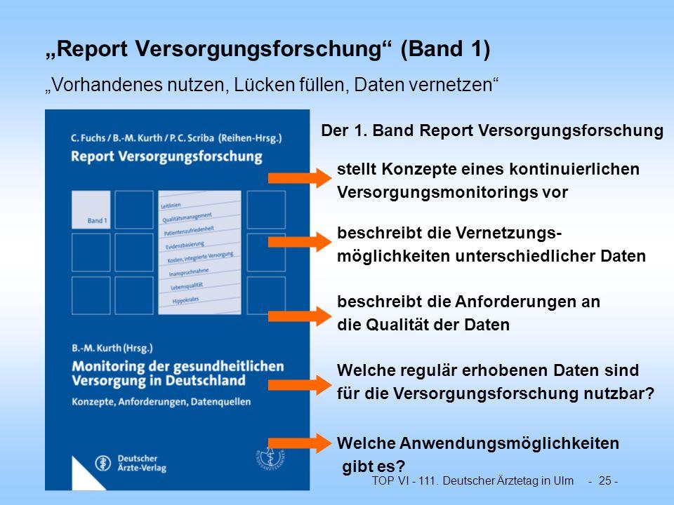 """""""Report Versorgungsforschung (Band 1)"""