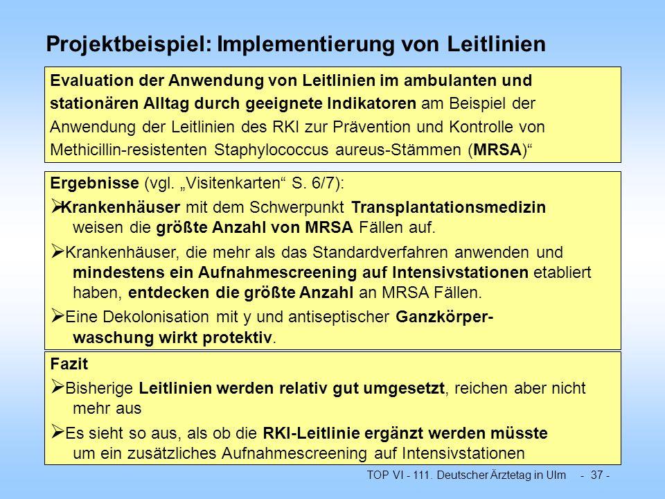 Projektbeispiel: Implementierung von Leitlinien
