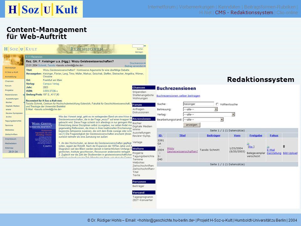 H Soz U Kult Content-Management für Web-Auftritt Redaktionssystem