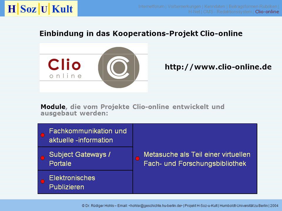 Einbindung in das Kooperations-Projekt Clio-online