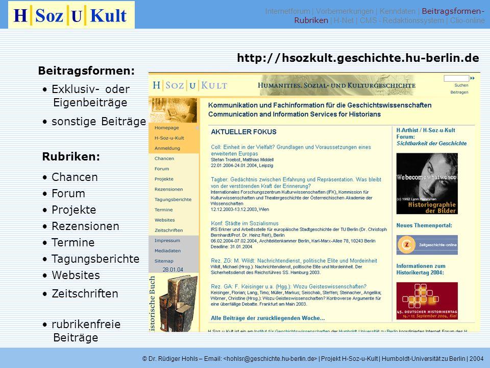 H Soz U Kult http://hsozkult.geschichte.hu-berlin.de Beitragsformen: