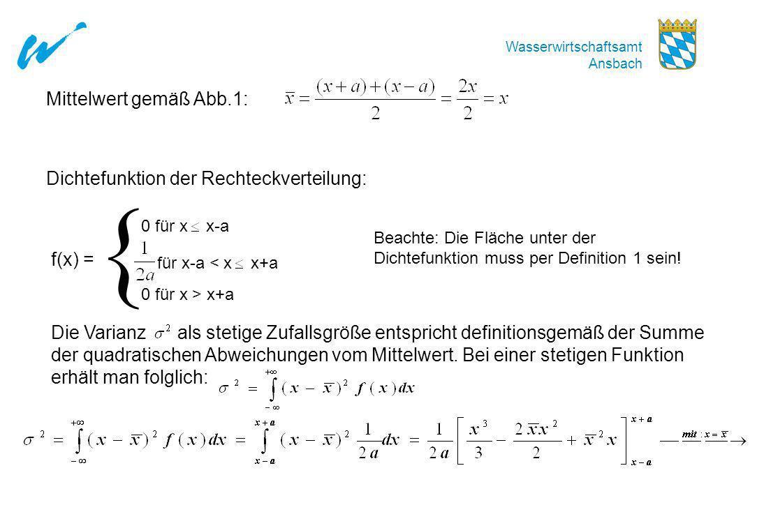 { Mittelwert gemäß Abb.1: Dichtefunktion der Rechteckverteilung: