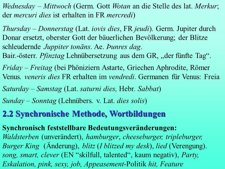 2.2 Synchronische Methode, Wortbildungen