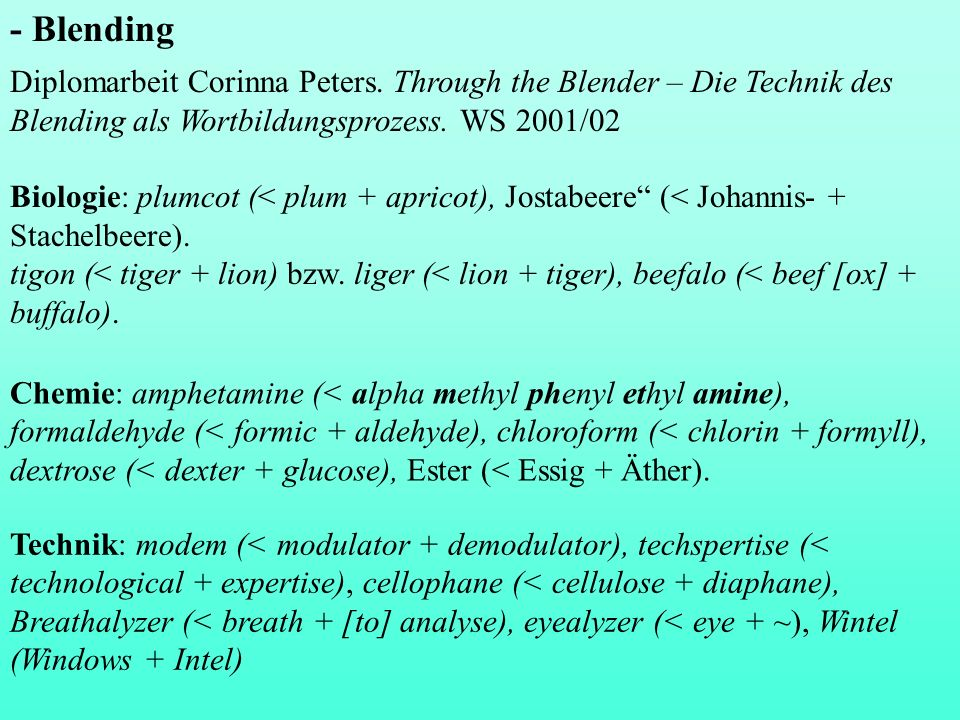 - BlendingDiplomarbeit Corinna Peters. Through the Blender – Die Technik des Blending als Wortbildungsprozess. WS 2001/02.