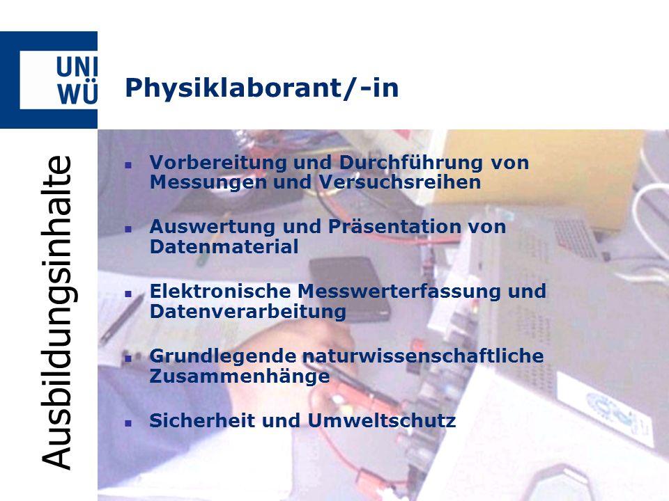 Ausbildungsinhalte Physiklaborant/-in