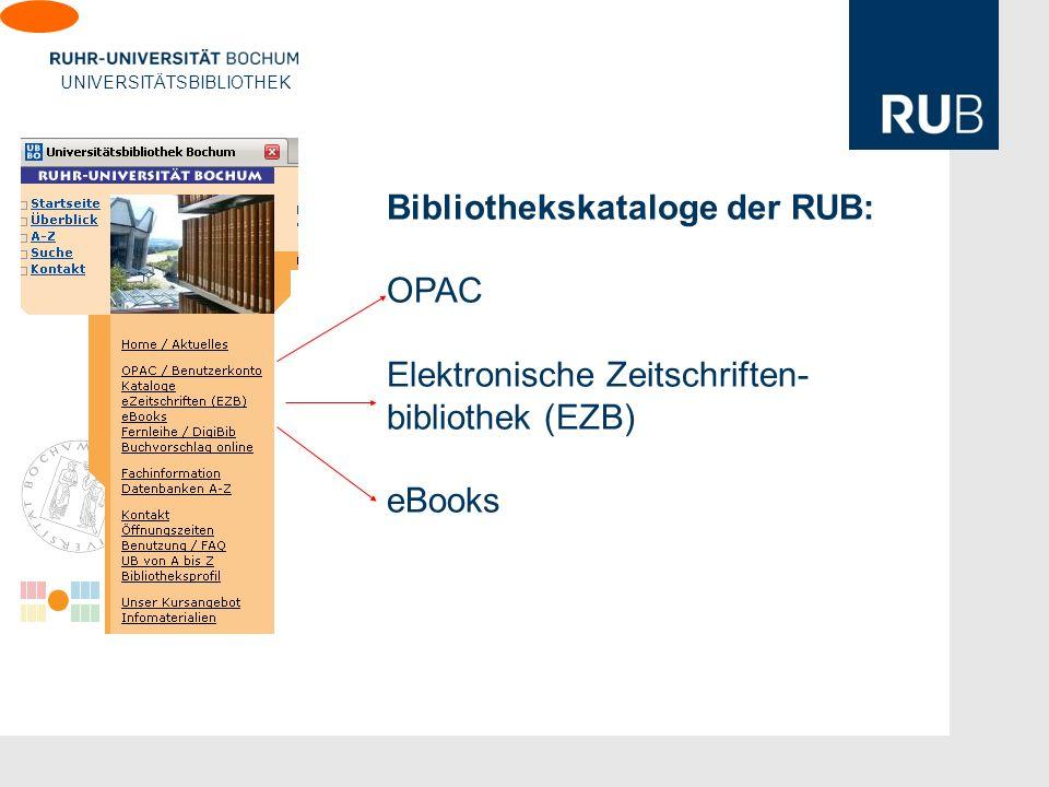 Bibliothekskataloge der RUB: