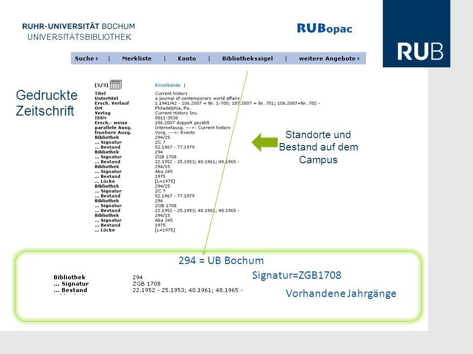 Gedruckte Zeitschrift 294 = UB Bochum Signatur=ZGB1708