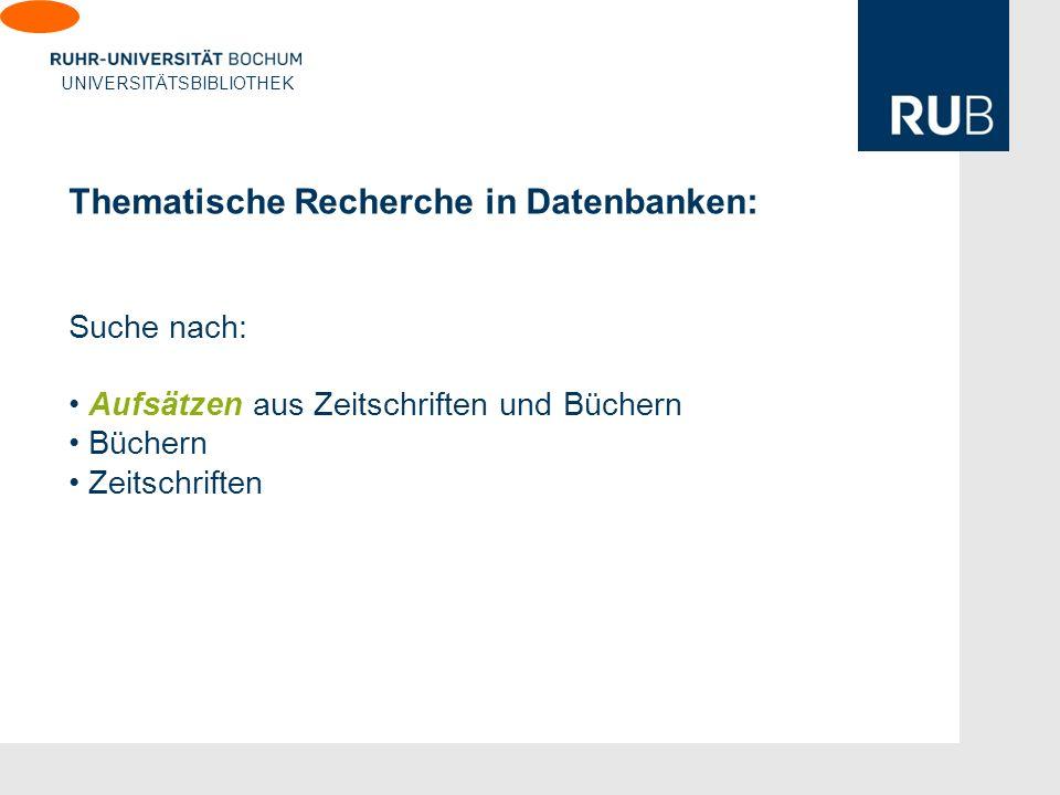 Thematische Recherche in Datenbanken: