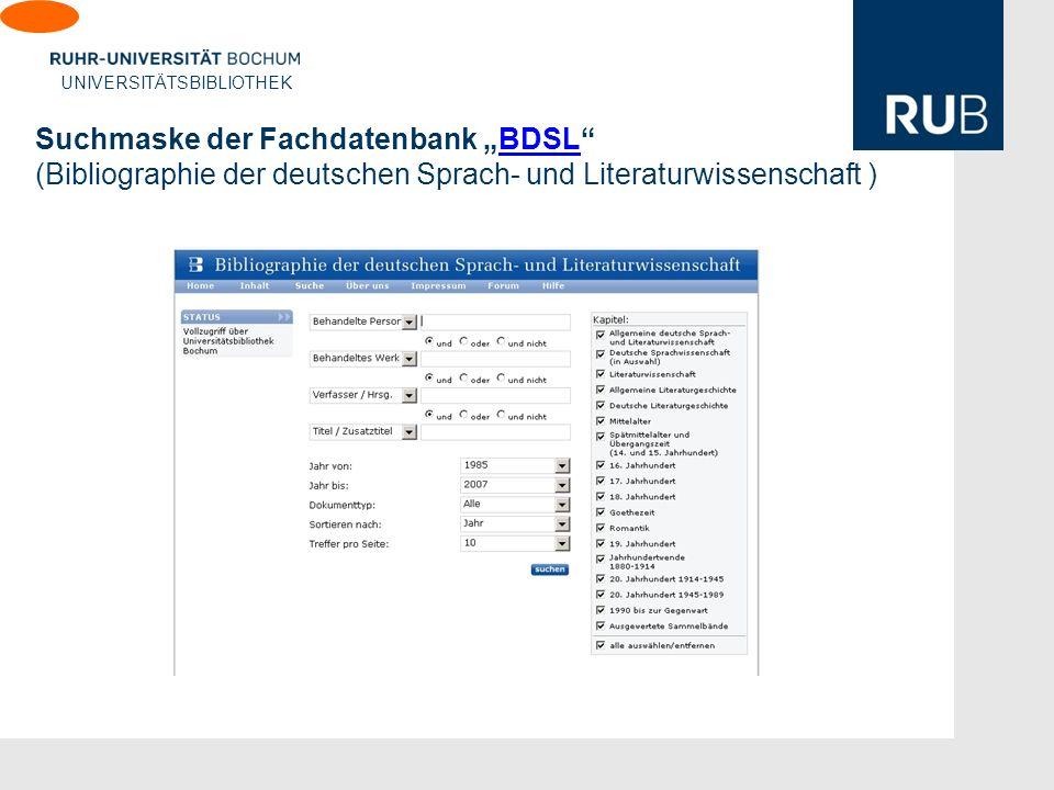 """Suchmaske der Fachdatenbank """"BDSL (Bibliographie der deutschen Sprach- und Literaturwissenschaft )"""