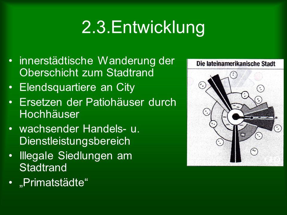 2.3.Entwicklung innerstädtische Wanderung der Oberschicht zum Stadtrand. Elendsquartiere an City. Ersetzen der Patiohäuser durch Hochhäuser.